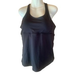 Black Workout top with built in Bra Size XL